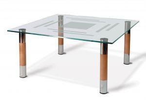 Журнальный столик хром/орех Робер-8МД