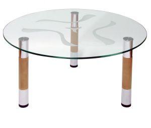 Журнальный столик хром/бук Робер-6МД