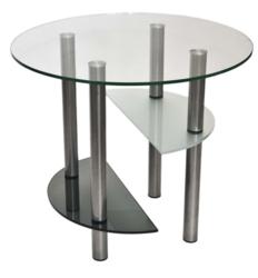 Журнальный столик Танго 3 серебро/тонированное-матовое-прозрачное
